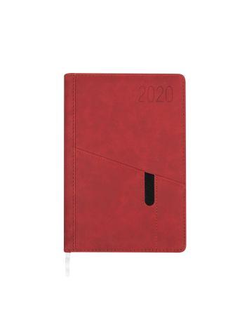 Kalendarz terminarz biurowy twardy z miejscem na smartfon i długopis na rok 2020 - O.DIARY Saturn - 207 x 145 mm (A5) - czerwony