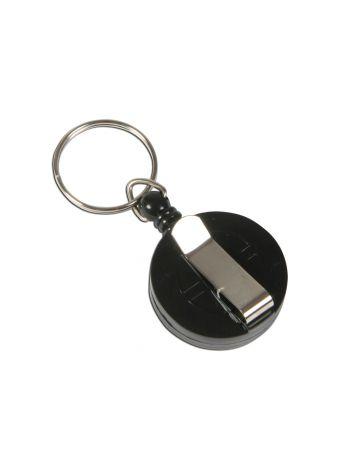 Klipsy rozwijane z kółeczkiem do identyfikatorów - O.BADGE REEL 2 - czarny - 10 sztuk
