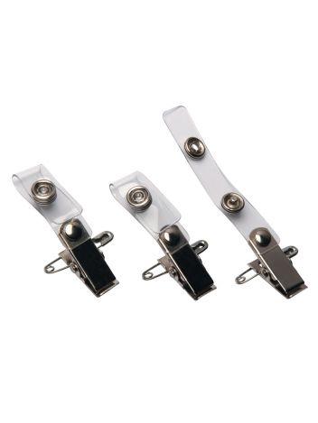 Metalowe klipsy z paskiem i agrafką do identyfikatorów - O.CLIP with strap - przezroczysty - 100 sztuk