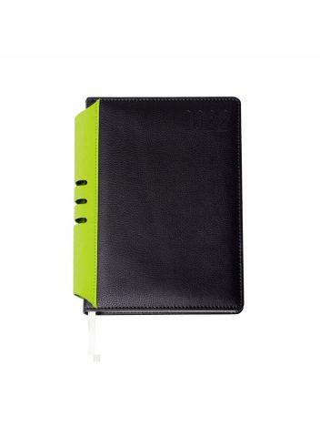 Kalendarz terminarz biurowy twardy z miejscem na długopis na rok 2022 - O.DIARY Jowisz - 211 x 156 (A5) - czarno-zielony