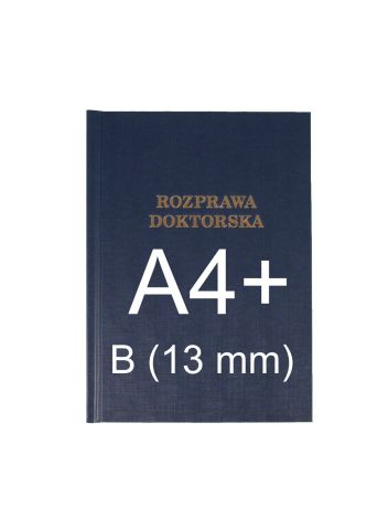 "Okładka twarda z napisem - O.HARD Classic B (13 mm) 304 x 212 mm (A4+ pionowa) ""Rozprawa Doktorska"" - niebieski - 10 sztuk"