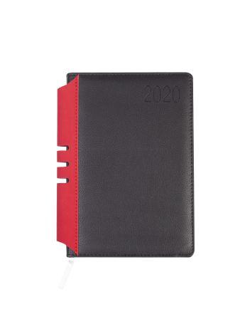 Kalendarz terminarz biurowy twardy z miejscem na długopis na rok 2020 - O.DIARY Jowisz - 207 x 145 mm (A5) - czarno-czerwony