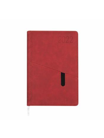 Kalendarz terminarz biurowy twardy z miejscem na smartfon i długopis na rok 2022 - O.DIARY Saturn - 207 x 145 mm (A5) - czerwony