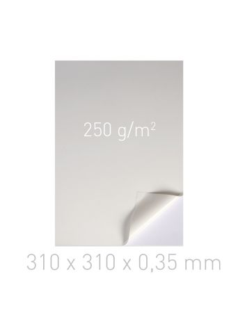 Kartoniki dwustronnie samoprzylepne - O.DSA Cardboard - 310 x 310 x 0,35 mm - 250 g/m2 - 100 sztuk