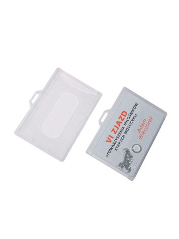 Identyfikator plastikowy twardy poziomy na karty plastikowe - O.BADGE HOLDER - 55 x 90 mm - 50 szt.