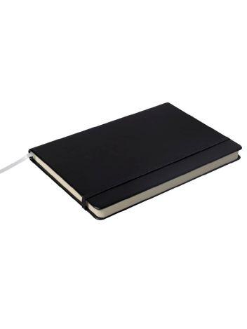 Notes Notatnik biurowy twardy w linię zamykany na gumkę - O.NOTE Berlin - 207 x 145 mm (A5) - czarny