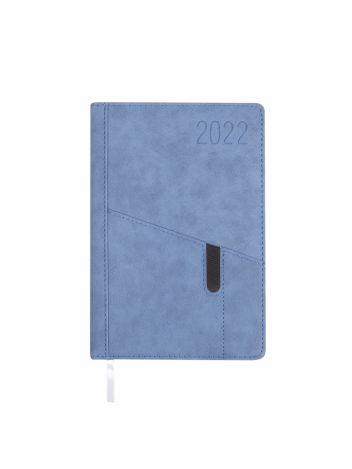 Kalendarz terminarz biurowy twardy z miejscem na smartfon i długopis na rok 2022 - O.DIARY Saturn - 207 x 145 mm (A5) - niebieski