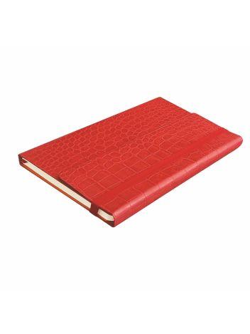 Notes Notatnik biurowy twardy w kratę zamykany na gumkę z miejscem na długopis - O.NOTE Mississippi - 207 x 145 mm (A5) - czerwony