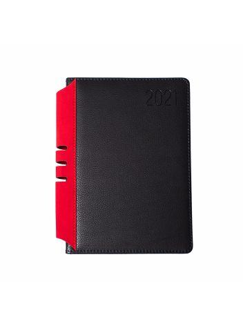 Kalendarz terminarz biurowy twardy z miejscem na długopis na rok 2021 - O.DIARY Jowisz - 211 x 156 mm (A5) - czarno-czerwony