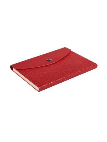 Notes Notatnik biurowy twardy w kratkę zamykany z miejscem na długopis - O.NOTE Paris - 207 x 145 mm (A5) - czerwony