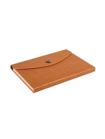 Notes Notatnik biurowy twardy w kratkę zamykany z miejscem na długopis - O.NOTE Paris - 207 x 145 mm (A5) - brązowy
