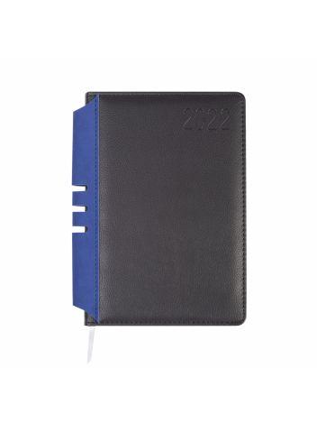 Kalendarz terminarz biurowy twardy z miejscem na długopis na rok 2022 - O.DIARY Jowisz - 211 x 156 mm (A5) - czarno-niebieski