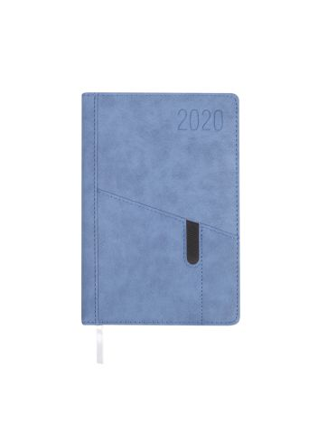 Kalendarz terminarz biurowy twardy z miejscem na smartfon i długopis na rok 2020 - O.DIARY Saturn - 207 x 145 mm (A5) - niebieski