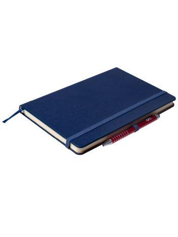 Notes Notatnik biurowy twardy w kratkę zamykany na gumkę z miejscem na długopis - O.NOTE London - 207 x 145 mm (A5) - niebieski