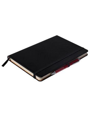 Notes Notatnik biurowy twardy w linię zamykany na gumkę z miejscem na długopis - O.NOTE London - 207 x 145 mm (A5) - czarny