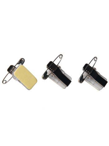 Metalowe samoprzylepne klipsy z agrafką do identyfikatorów - O.CLIP STICKY - 100 sztuk