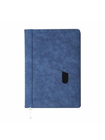 Kalendarz terminarz biurowy twardy z miejscem na smartfon i długopis na rok 2021 - O.DIARY Uran - 256 x 176 mm (B5) - niebieski