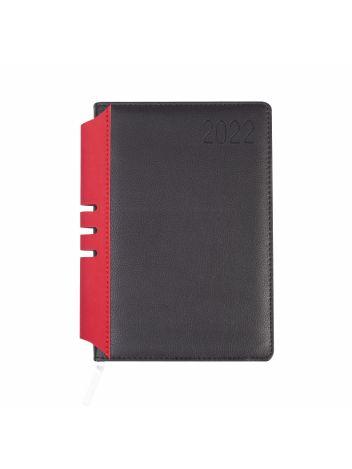 Kalendarz terminarz biurowy twardy z miejscem na długopis na rok 2022 - O.DIARY Jowisz - 211 x 156 mm (A5) - czarno-czerwony