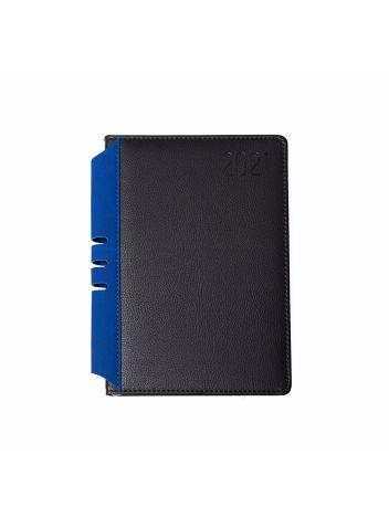 Kalendarz terminarz biurowy twardy z miejscem na długopis na rok 2021 - O.DIARY Jowisz - 211 x 156 mm (A5) - czarno-niebieski