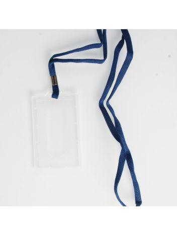 Identyfikator plastikowy twardy pionowy z taśmą na karty plastikowe - O.BADGE HOLDER Vertical - 90 x 55 mm - 50 szt.