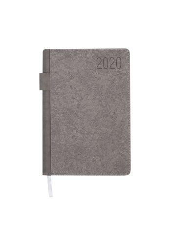 Kalendarz terminarz biurowy twardy z miejscem na długopis na rok 2020 - O.DIARY Mars - 207 x 145 mm (A5) - szary
