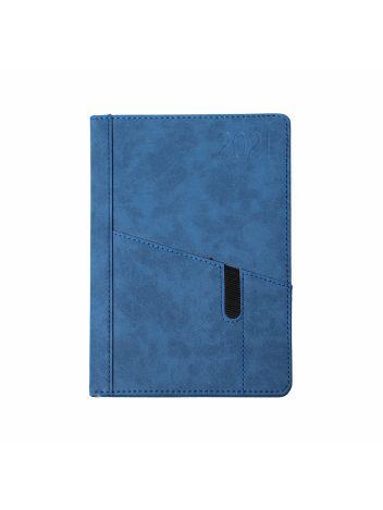 Kalendarz terminarz biurowy twardy z miejscem na smartfon i długopis na rok 2021 - O.DIARY Saturn - 207 x 145 mm (A5) - niebieski