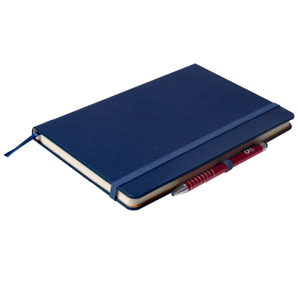 Notes Notatnik biurowy twardy w linię zamykany na gumkę z miejscem na długopis - O.NOTE London - 207 x 145 mm (A5) - niebieski