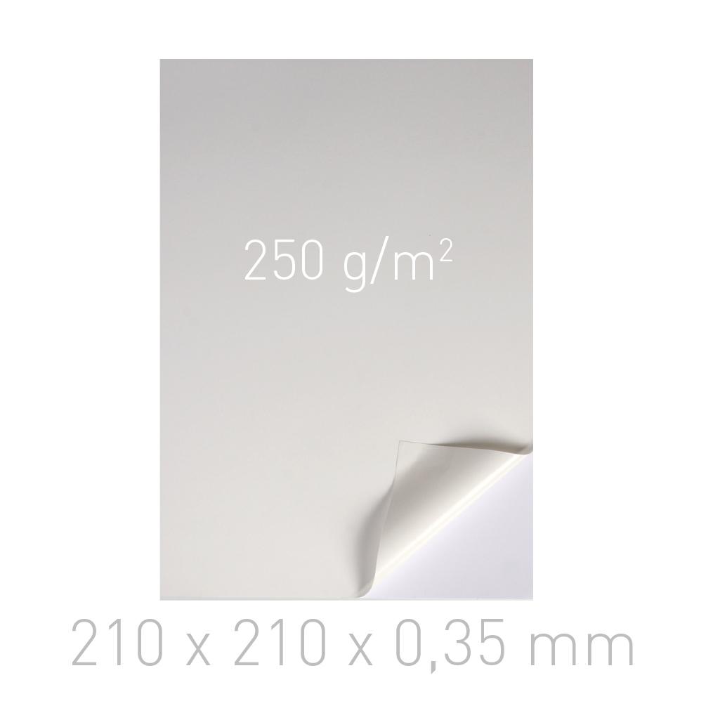 Kartoniki dwustronnie samoprzylepne - O.DSA Cardboard - 210 x 210 x 0,35 mm - 250 g/m2 - 100 sztuk