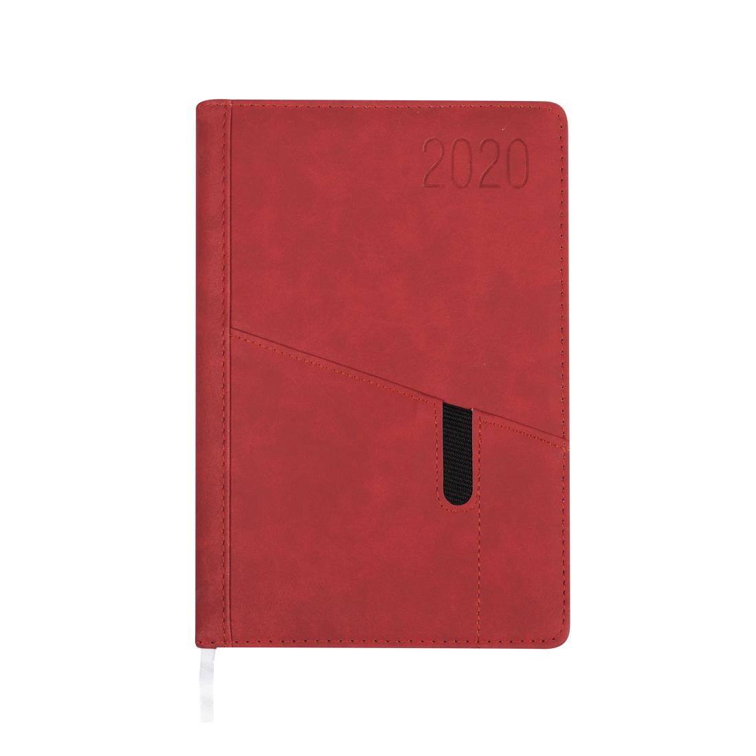 Kalendarz terminarz biurowy twardy z miejscem na smartfon i długopis na rok 2021 - O.DIARY Saturn - 207 x 145 mm (A5) - czerwony