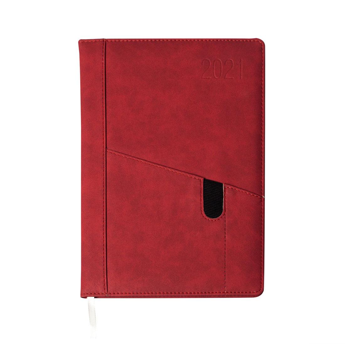 Kalendarz terminarz biurowy twardy z miejscem na smartfon i długopis na rok 2021 - O.DIARY Uran - 256 x 176 mm (B5) - czerwony