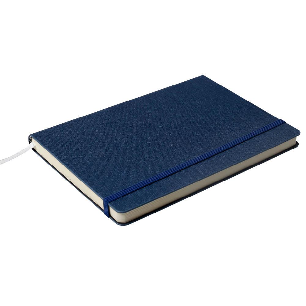 Notes Notatnik biurowy twardy w kratkę zamykany na gumkę - O.NOTE Cairo - 150 x 108 mm (A6) - niebieski