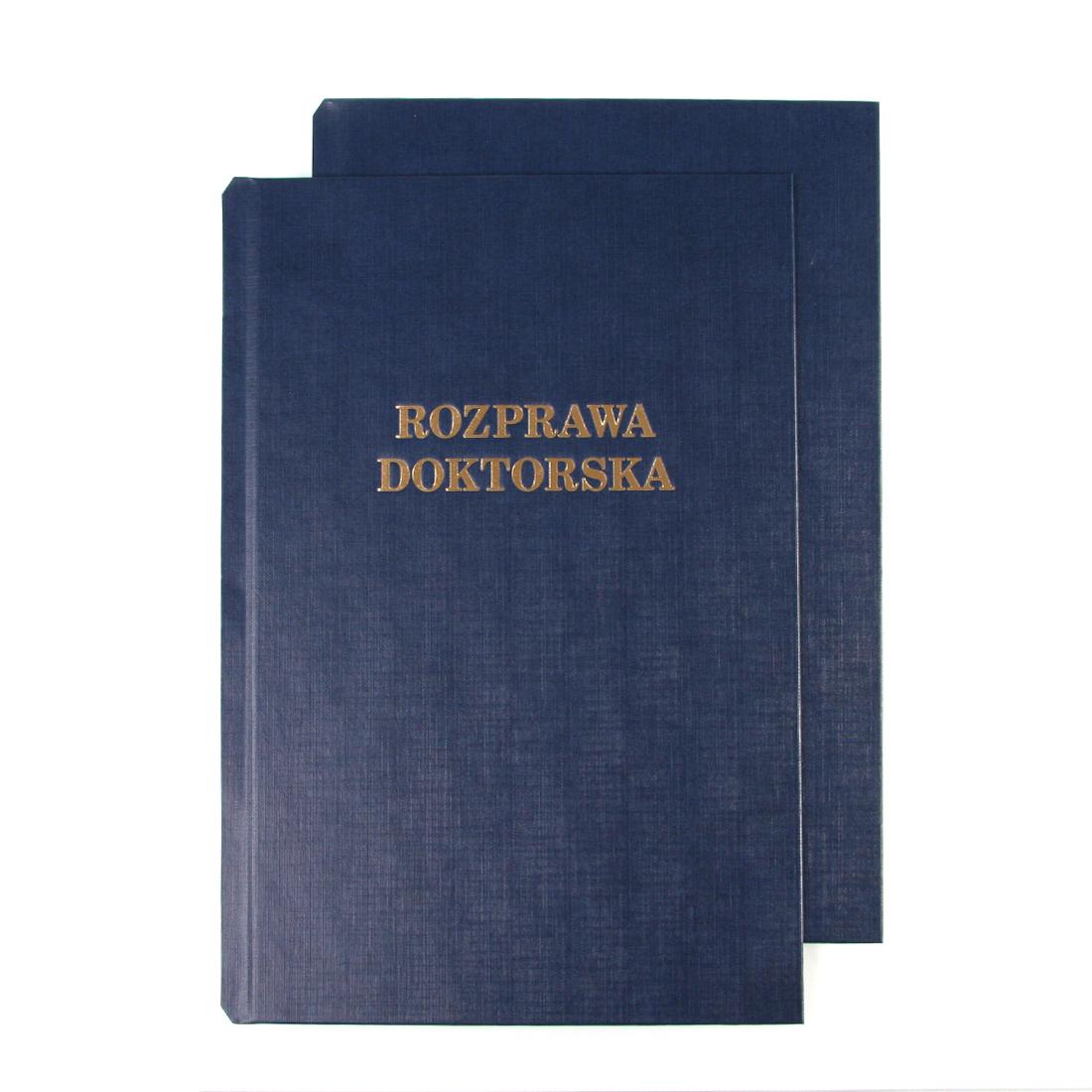 """Okładka twarda z napisem - O.HARD COVER Classic 304 x 212 mm (A4+ pionowa) """"Rozprawa Doktorska"""" - niebieski - 10 par"""