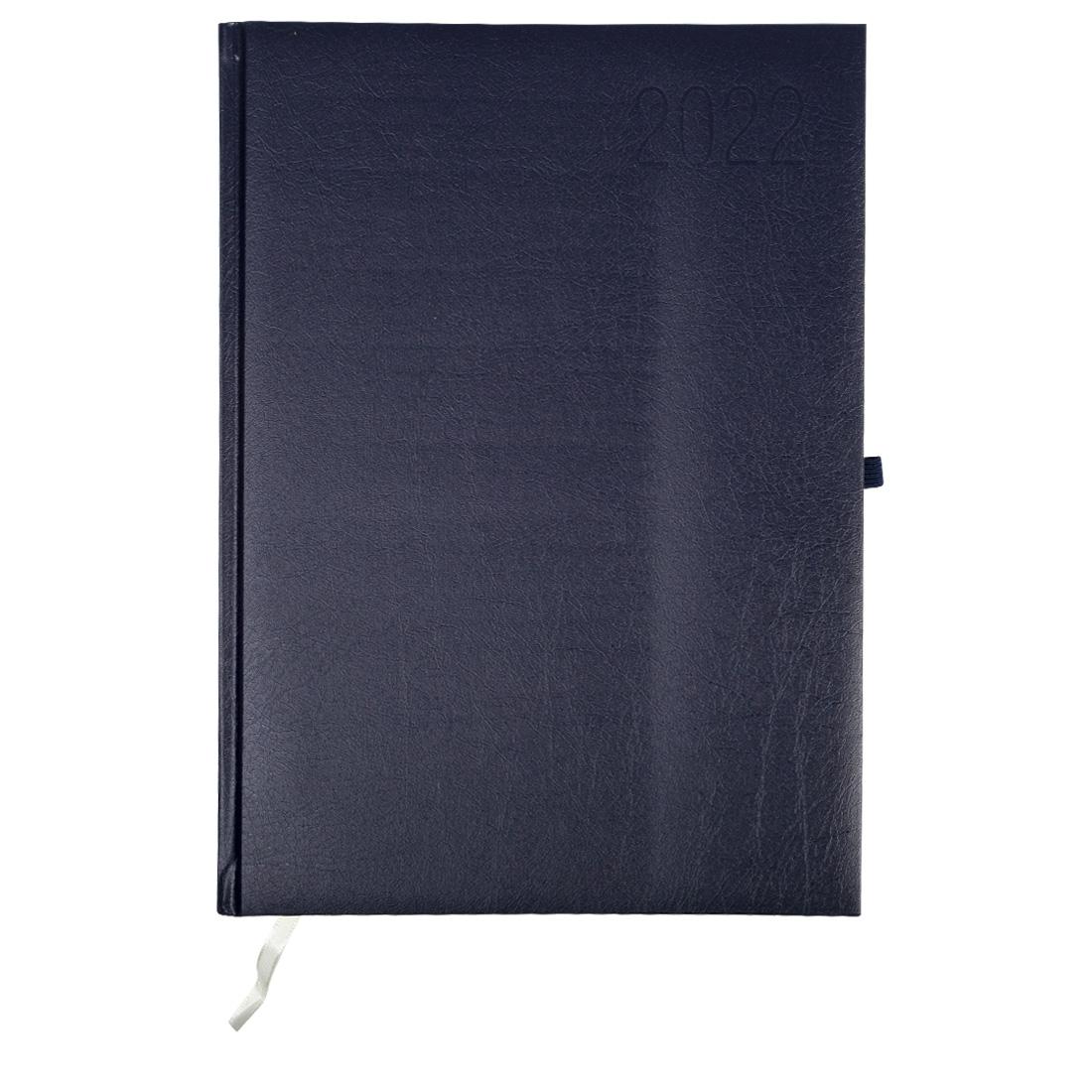 Kalendarz terminarz biurowy twardy z miejscem na długopis na rok 2022 - O.DIARY Neptun - 297 x 216 mm (A4) - niebieski