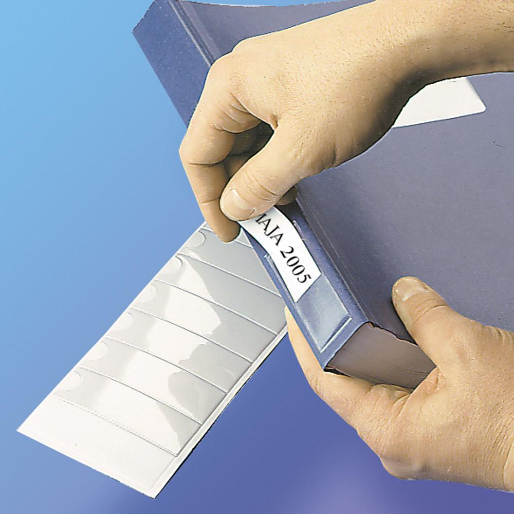 Samoprzylepne przezroczyste kieszonki na tytuły - O.POCKET Sticky S-7 - 25 x 75 mm - 24 sztuk