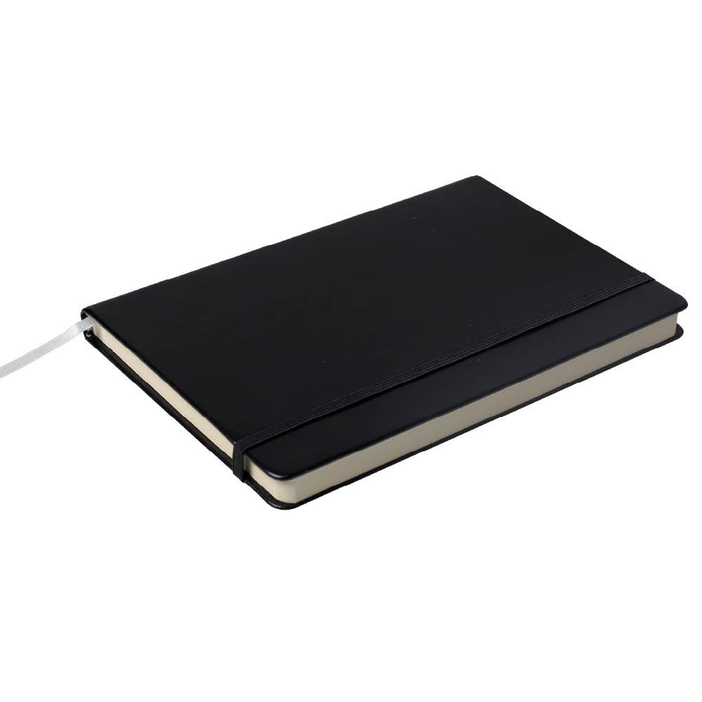 Notes Notatnik biurowy twardy w kratkę zamykany na gumkę - O.NOTE Berlin - 207 x 145 mm (A5) - czarny