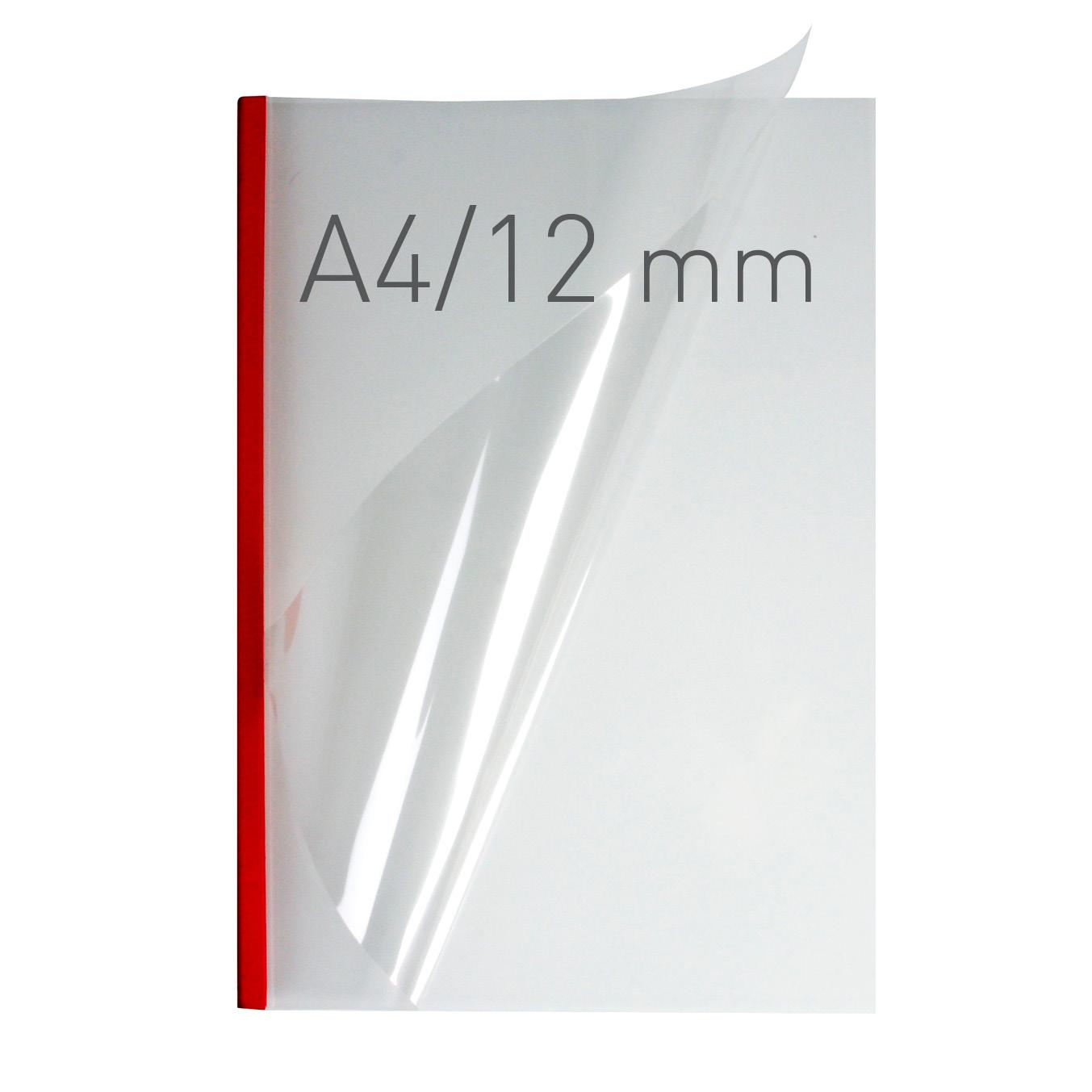 Przezroczyste termookładki miękkie - O.THERMOTOP Double Clear - (12 mm) - 297 x 210 mm (A4 pionowa) - czerwony - 30 sztuk