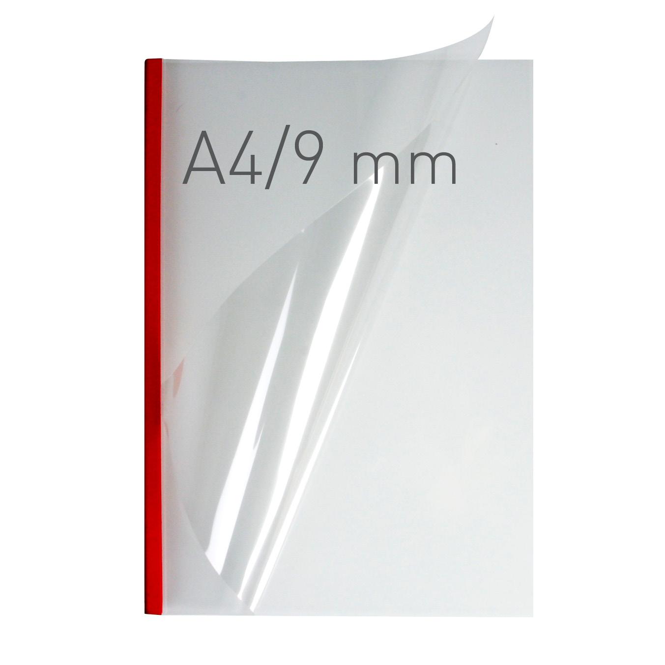 Przezroczyste termookładki miękkie - O.THERMOTOP Double Clear - (9 mm) - 297 x 210 mm (A4 pionowa) - czerwony - 40 sztuk