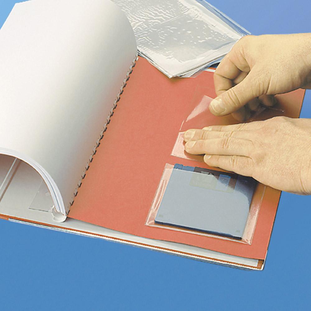 Samporzylepne przezroczyste kieszonki na dyskietki - O.POCKET Sticky S-15 - 105 x 90 mm - 10 sztuk
