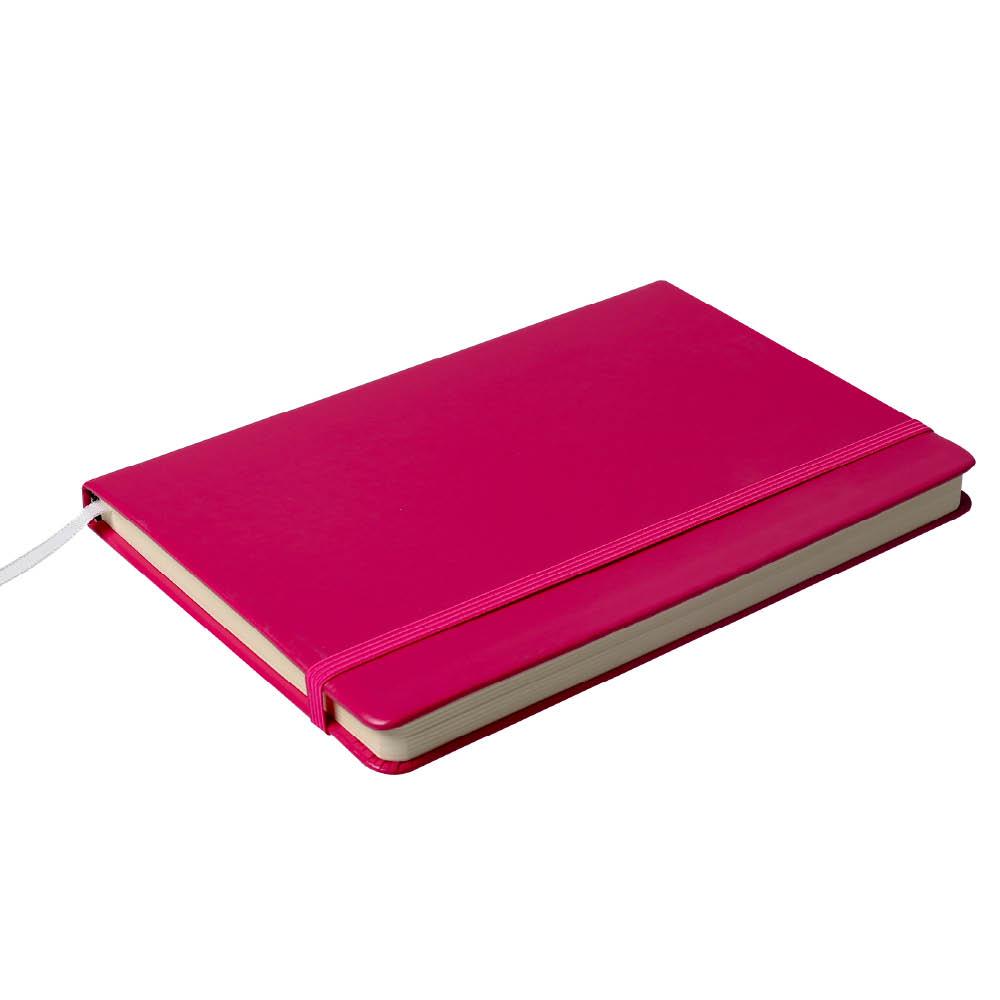 Notes Notatnik biurowy twardy w kratkę zamykany na gumkę - O.NOTE Berlin - 150 x 108 mm (A6) - różowy